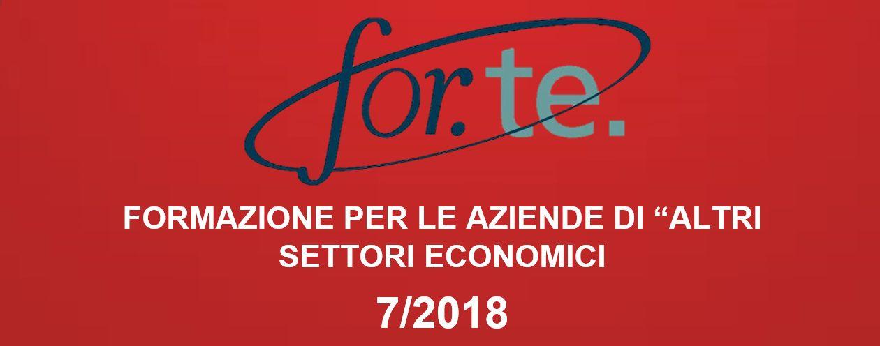 """FORMAZIONE PER LE AZIENDE DI """"ALTRI SETTORI ECONOMICI"""" Avviso 7/2018"""